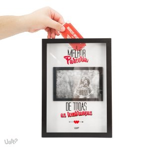 Quadro lembranças com porta retrato interno Melhor parceria