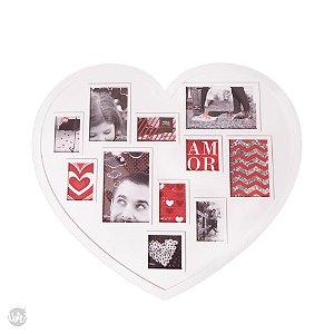 Mural de fotos coração Uatt para 11 fotos pequenas
