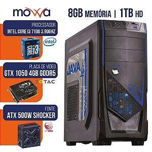 COMPUTADOR GAMER MVX3 INTEL I3 7100 3.9GHZ MEM 8GB HD 1TB HDMI VGA GTX 1050 TI 4GB DDR5 128BITS FONTE 500W LINUX
