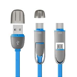 CABO 2 EM 1 MICRO USB COM ADAPTADOR TYPE-C .CABO FLAT AZUL
