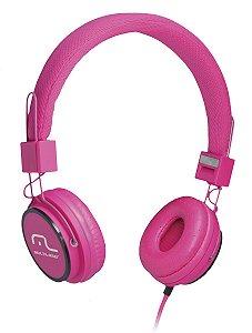 Headphone Head Fun com Microfone P2 3,5mm Hi-Fi Rosa Multila