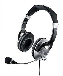 Headset Haste Flexivel c/ Microfone metal Preto / Prata Mult