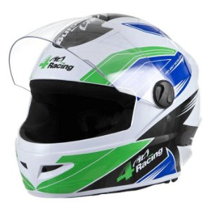 Capacete 4 Racing (+ Viseira Cromada) Verde/Azul | 58 Pro To