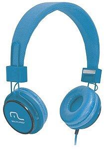 Headphone Head Fun com Microfone P2 3,5mm Hi-Fi Azul Multila