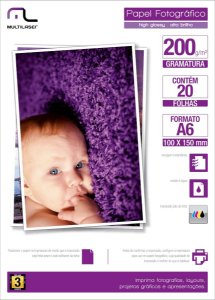 Photo Paper C/200 Gr Tam .10x15 C/ 20 Fls Multilaser - PE010
