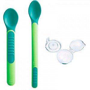 Colheres Termossensíveis Verde Feeding Spoons & Cover Mam Baby