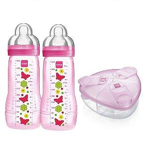 Kit 2 Mamadeira Fashion e Dosador Rosa Mam Baby