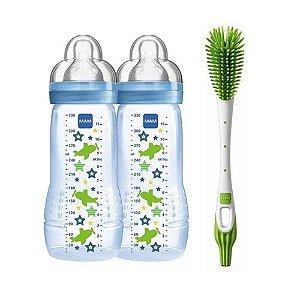Kit 2 Mamadeira Fashion e Escova Verde Mam Baby