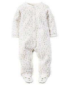 Macacão Algodão Branco Baby Carter's