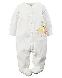 Macacão Algodão Branco Girafa Carter's