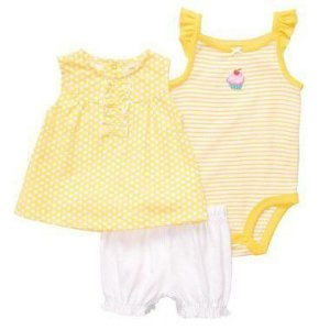 Conjunto Amarelo e Branco Cupcake Carter's