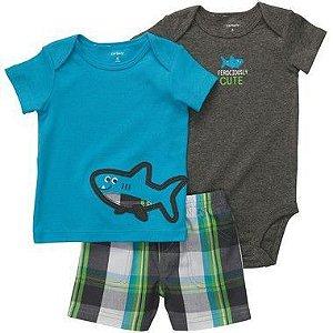 Conjunto Azul e Cinza Tubarão Carter's