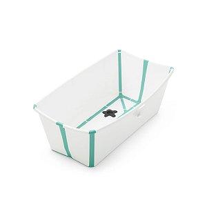 Banheira Dobrável Flexi Bath Verde e Branco Stokke