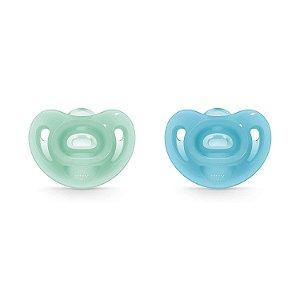 Chupeta Sensitive Soft 100% Silicone Verde e Azul Tam.2 (6 meses+) NUK
