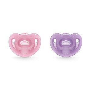 Chupeta Sensitive Soft 100% Silicone Rosa e Roxo Tam.2 (6 meses+) NUK