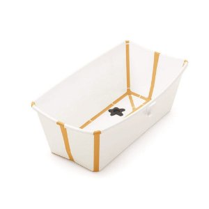 Banheira Dobrável Flexi Bath Branco e Amarelo com Plug Térmico - Stokke