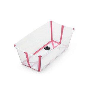 Banheira Dobrável Flexi Bath Transparente Rosa com Plug Térmico - Stokke