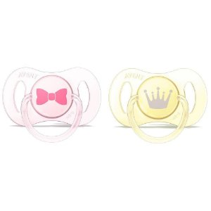 Mini Chupetas Para Recém Nascidos Dupla Rosa e Amarelo (0-2m) - Philips AVENT