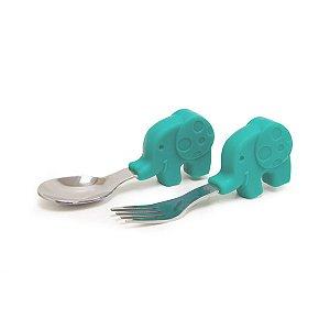Colher E Garfo Infantil Elefante Ollie - Marcus & Marcus