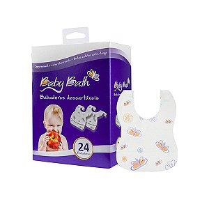 Babadores Descartáveis impermeáveis C/ 24 unidades - Baby Bath