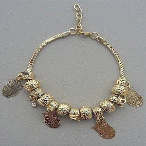 pulseira estilo pandora banhada a ouro com pingentes de coruja