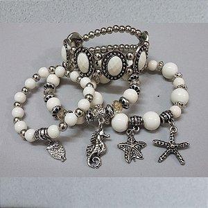 pulseira de bolinhas brancas com prata pingentes de cavalo do mar,estrela marinha,coruja.promoção.