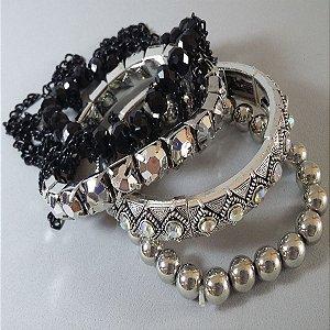 conjunto de pulseiras prata e preta luxo