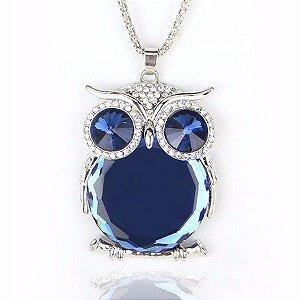 Moda para Mulheres Pingente Longo Coruja prata /azul Cor de Vidro/Cristal Colares Para mulheres