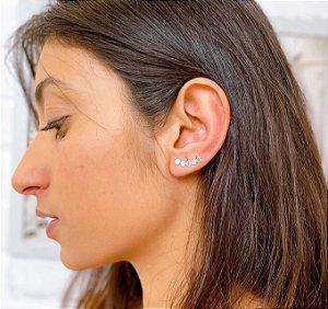 BRINCO EAR CUFF CORAÇOES ENVELHECIDOS PRATA 925
