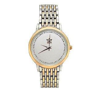 Relógio Feminino Kasi/Fmero Analógico Casual 8107 Dourado e Prata