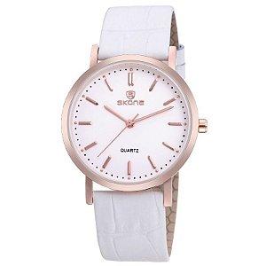 Relógio Feminino Skone Analógico Casual 9310 Branco