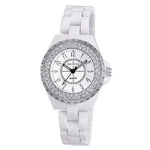 Relógio Feminino Skone Analógico Casual 7216L Branco e Prata