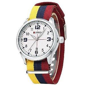 Relógio Curren Analógico 8195 Amarelo - Vermelho