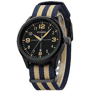 Relógio Curren Analógico 8195 Bege - Azul