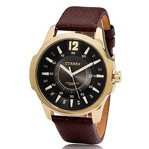 Relógio Masculino Curren Analógico 8123 Dourado e Preto