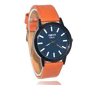 Relógio Masculino Kasi/Fmero Analógico Casual Y023 Laranja