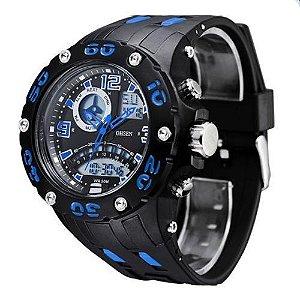 Relógio Masculino Ohsen AnaDigi Esporte AD2801 Azul