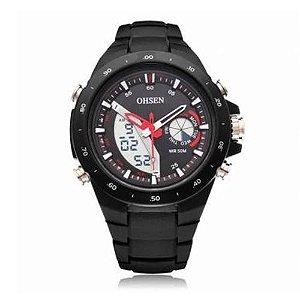 Relógio Masculino Ohsen AnaDigi Esporte AD2802 Preto