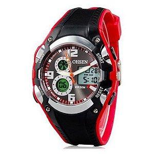 Relógio Masculino Ohsen AnaDigi Esporte AD1309 Vermelho