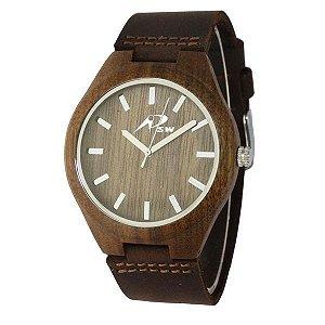 Relógio Masculino PSW Analógico Madeira PSW1 Marrom Escuro