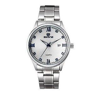 Relógio Masculino Skone Analógico Casual 7294 Prata e Azul