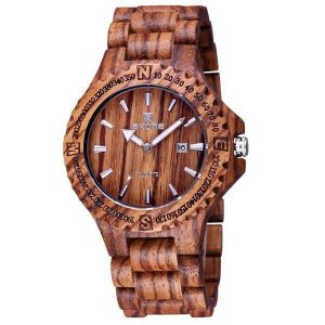 Relógio Masculino Skone Analógico Madeira 7397BG Marrom Claro