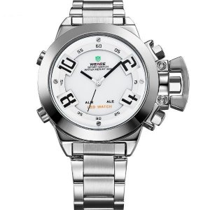 Relógio Masculino Weide Anadigi WH-1008 Prata e BrancoRelógio Masculino Weide Anadigi WH-1008 Prata e Branco