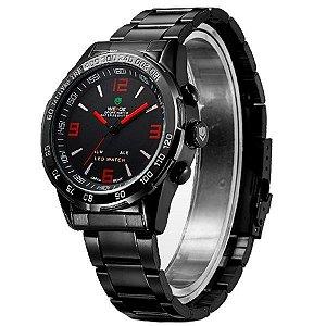 307b100bb21 Relógio Masculino Weide Anadigi WH-1009 Preto e Vermelho