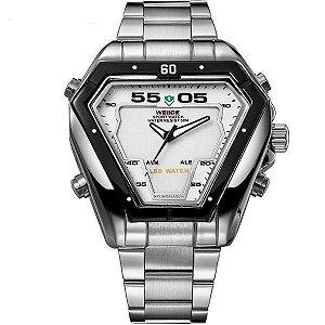 Relógio Masculino Weide Anadigi WH-1102 Prata e Branco