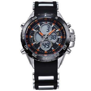 Relógio Masculino Weide Anadigi WH-1103 Preto e Laranja