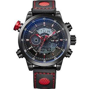 Relógio Masculino Weide Anadigi WH-3401-C Preto e Vermelho