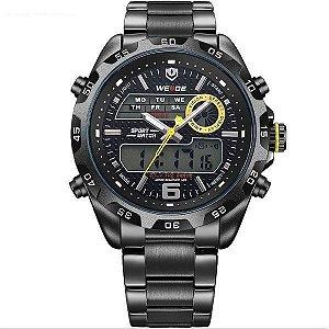Relógio Masculino Weide Anadigi WH-3403 Preto e Amarelo