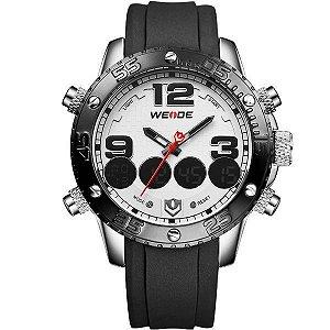 Relógio Masculino Weide Anadigi WH-3405-B Prata e Branco
