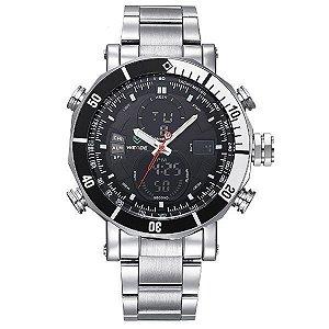 Relógio Masculino Weide AnaDigi WH-5203 - Prata e Preto